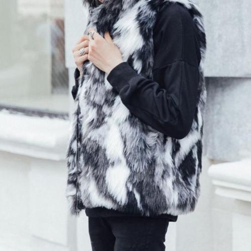 Men And Women Couple Models Fur Fox Fur Grass Hooded Vest