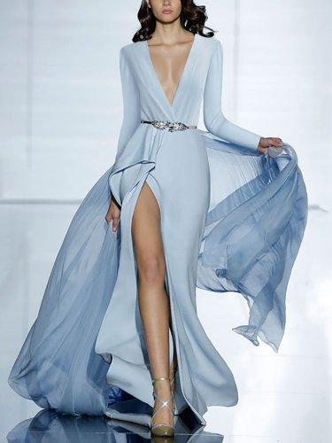 Women's Glamorous Deep V Neck Big Skirt Dress Evening Dress
