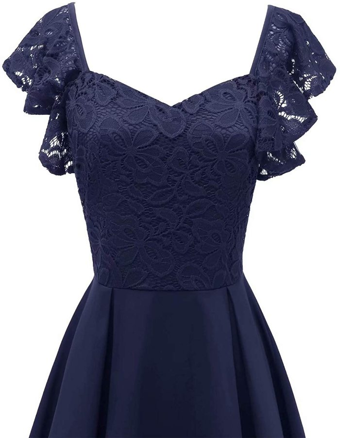 Women Lace Bridesmaid Cocktail Party Prom Midi Dress