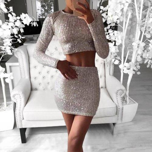 Sexy Sequined Pants Long Sleeve Two-piece Set