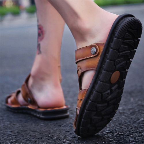 Men's leather soft bottom beach sandals