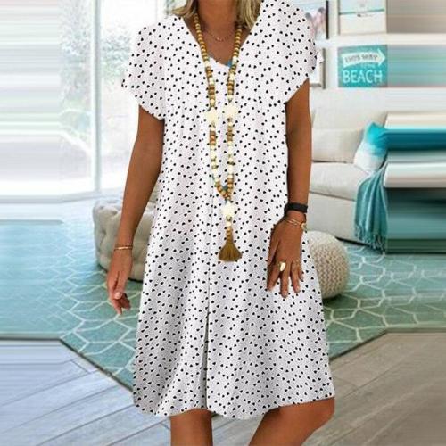 Bohemian Vintage Dresses 2020New Summer Woman's Dress V Neck Plus Size Boho Casual Dress Gradient Dot Print Female Robe Vestidos