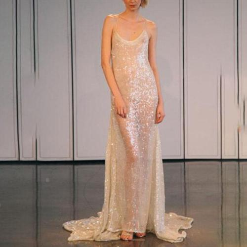 Fashion Sexy Silver Flash Evening Dress