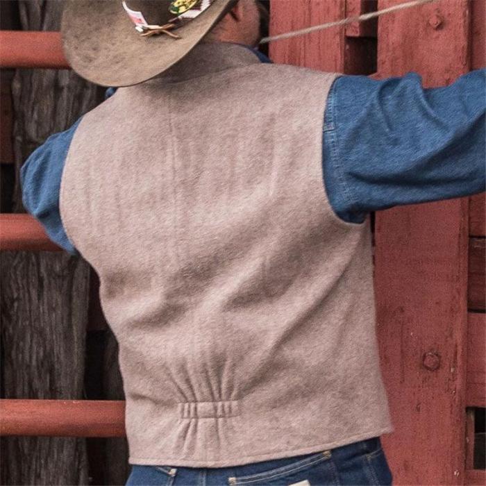 Vintage Pure Color Notch Lapel Vest