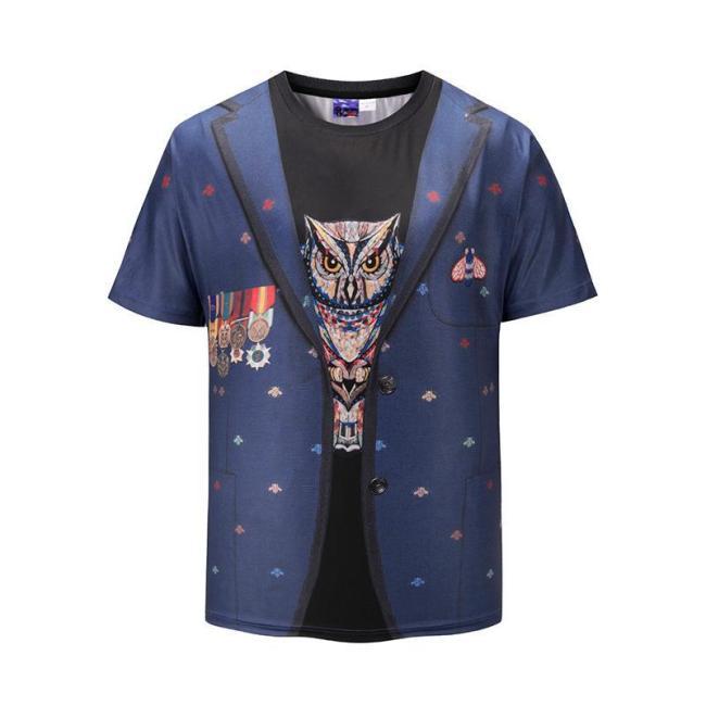 Fake Two Piece Cat Print Short Sleeve T-Shirt