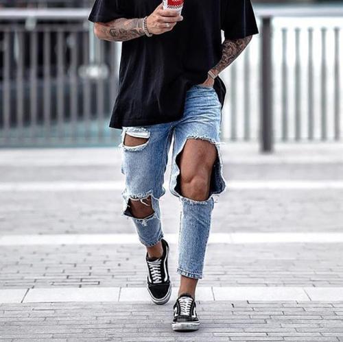 Men's Jeans Hole Fashion Trousers Slim-Fit Pants