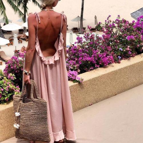 Sexy Bare Back Sleeveless Belted Ruffled Pure Colour Dress
