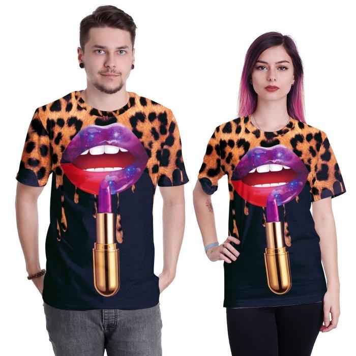Lipstick Printed Round Neck Short Sleeve T-shirt