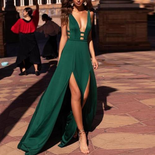 Fashion Sexy Deep V Sleeveless   Sling Dress