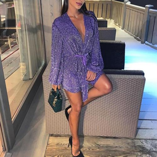 Sexy Deep V-Neck Purple Sequins Long Puff Sleeve Tie Mini Dress