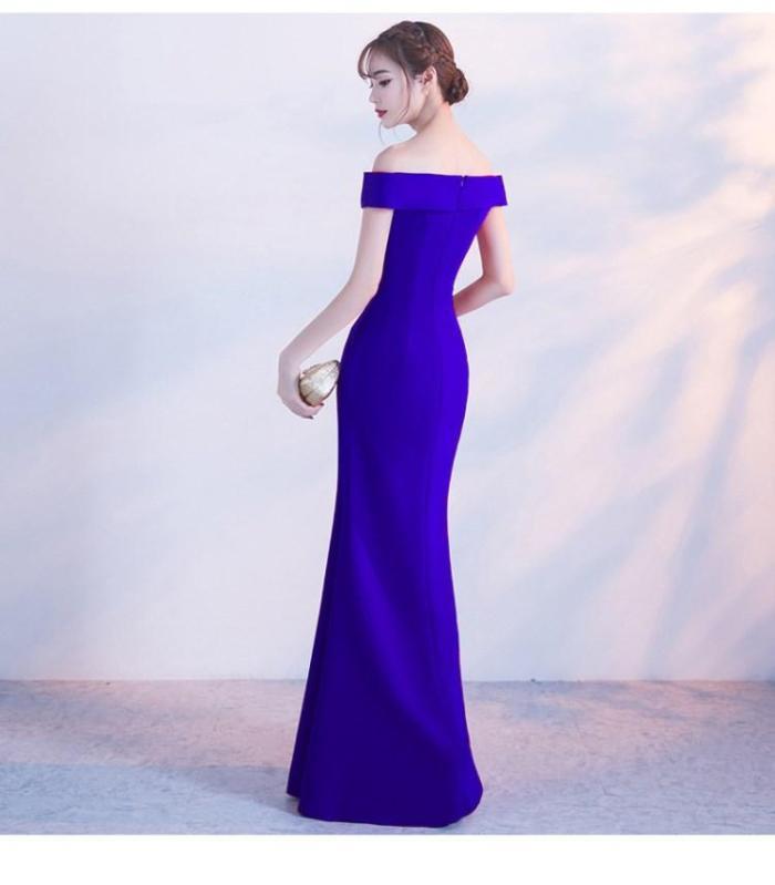 Off Shoulder Burgundy Evening Dress Girls Wedding Party Dress Prom Gown Dubai Long Zipper Bridal Dresses slit Robe De Soiree