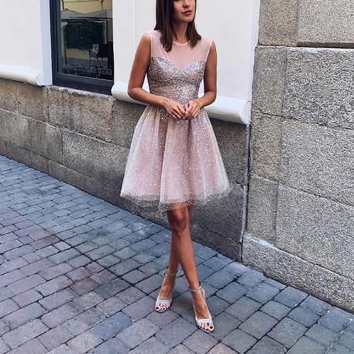 Women's Elegant Paillette Gradual Change Sleeveless High-Waist Dress