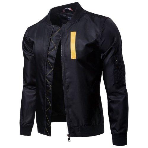 Fashion Lapel Collar Plain Zipper Jacket Coat