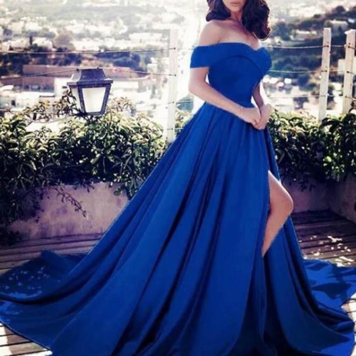 Sexy Low-Shouldered Split-Shoulder Dress