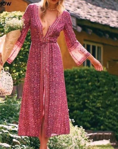 Holiday V Neck Single-breast Button Location Daisy Flower Print Long Sleeve Cotton Maxi Dresses