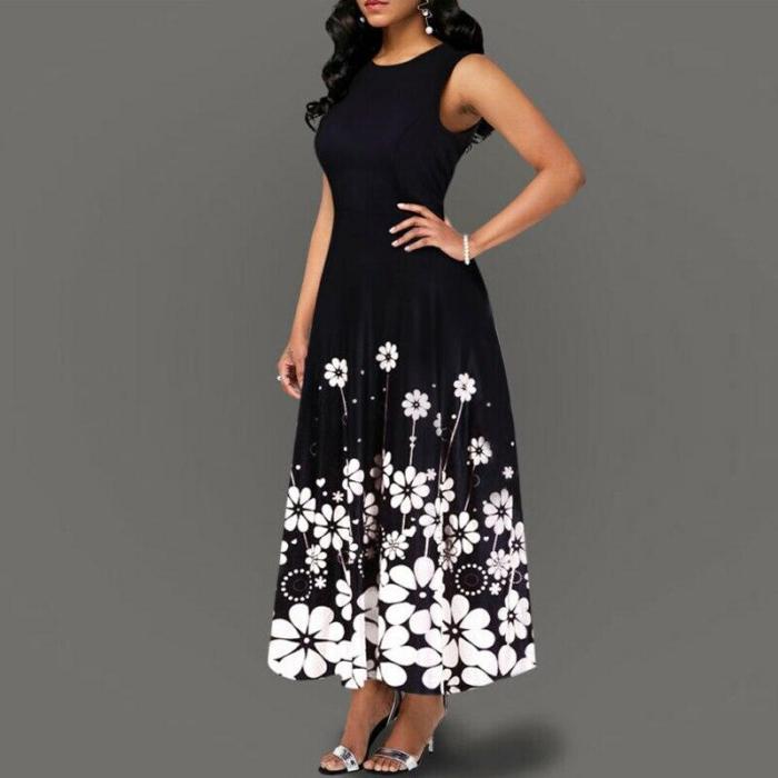 2020 Fashion Women's Boho Floral Print Long Maxi Dress Evening Casual Sleeveless Party Beach Dress Summer Female Sundress