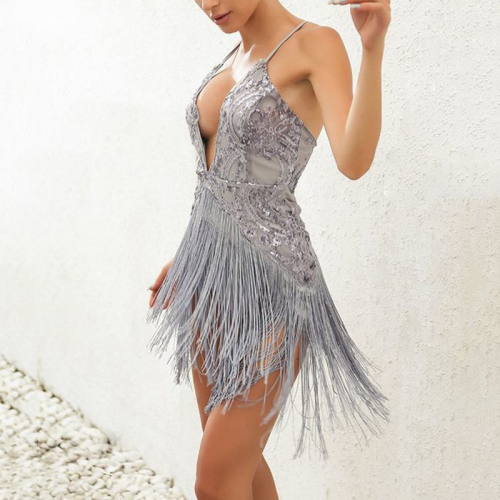 Women's Sexy Sling Embroidered Tassel Dress