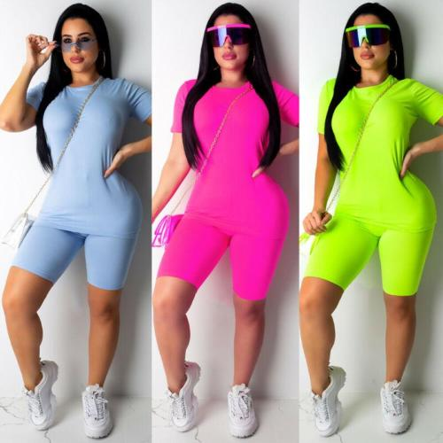 Brand New Women Casual Solid Color Sports Suit Female Crop Top Shorts Outfit Yoga Workout Clothes Tracksuit Outfits 3 Colors
