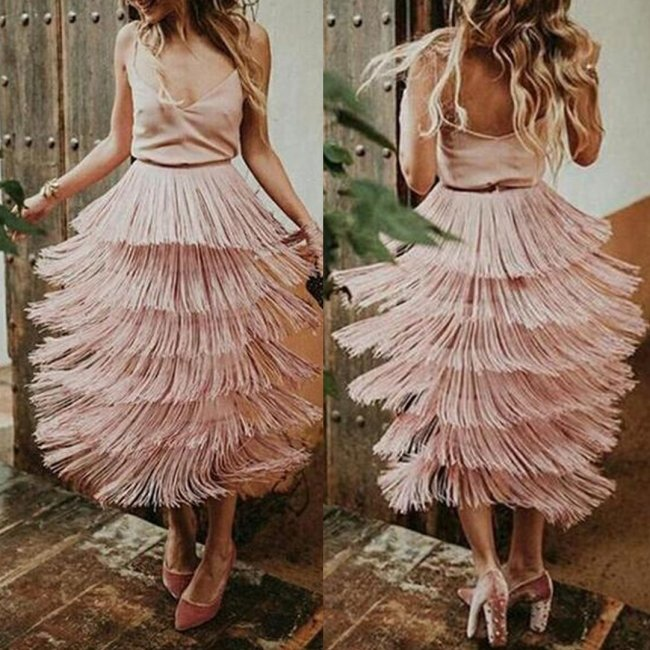 Sexy Fashion Tassel Overskirt Maxi Dress