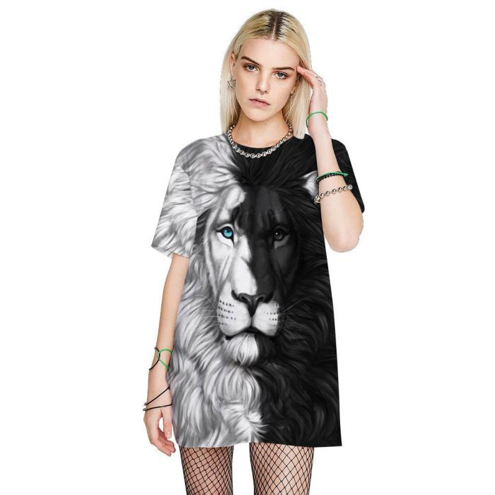 3D Lion Printed Funny Men T-shirt Loose Casual Novelty Short Sleeve Tees Top