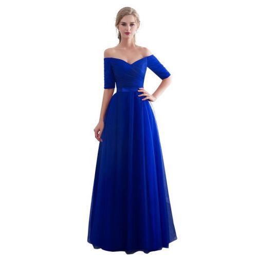 Royal blue Evening Dresses 2019  Long boat neck prom gown Cheap  Half Sleeve Vestido da festa fashionable formal party dress