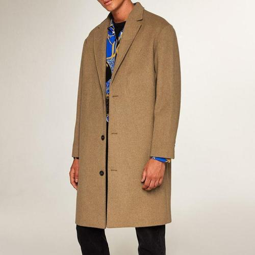 Stylish And Simple Gentleman's Long Solid Color Wool Coat