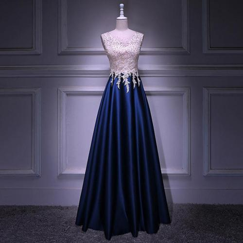 Evening Dress with Appliques/Beading Elegant  A-Line Scoop Floor Length Sleeveless Satin