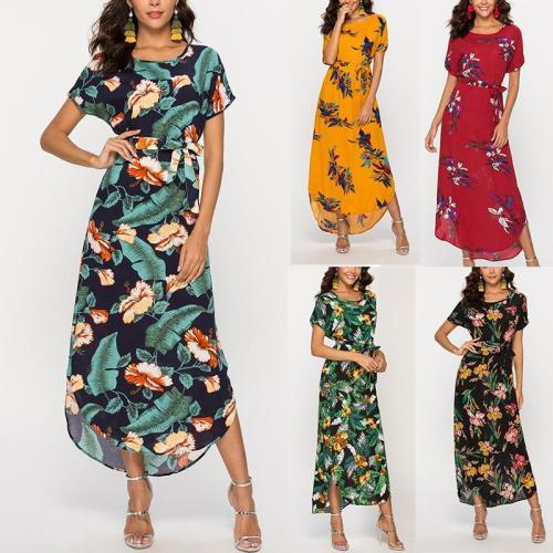 Casual Show Thin Floral Print Maxi Dresses Evening Dress