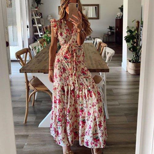 Sleeveless V Neck Floral Casual  Ruffle Sleeveless Boho Beach  Maxi  Dress