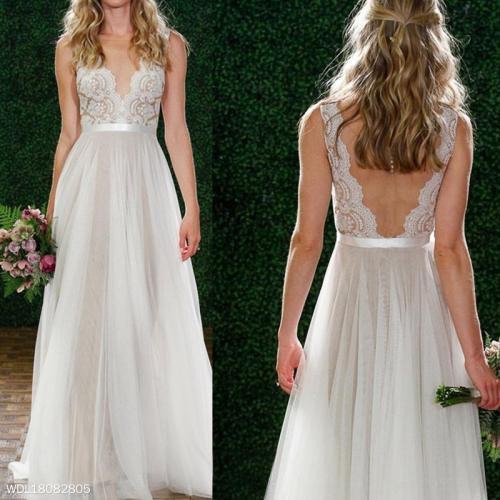 White Lace V-Neck Sleeveless Evening Dress