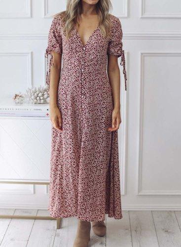 Short Sleeves V-neck Floral Maxi Dress
