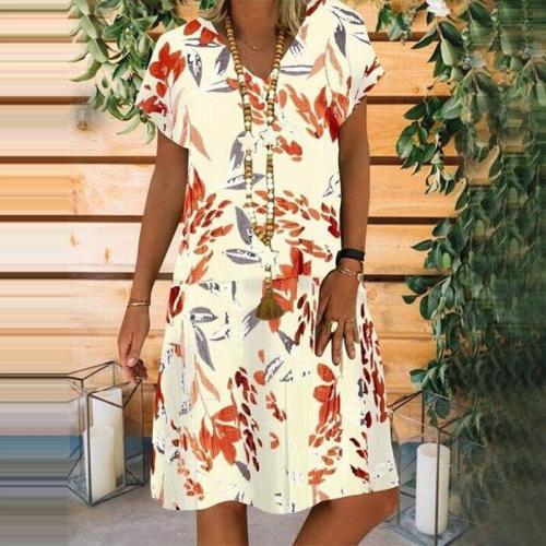 Vintage Dress Woman Summer Plus Size V Neck Loose Floral Woman's Dresses Short Sleeve Casual Boho Beach Dresses Femme Vestidos