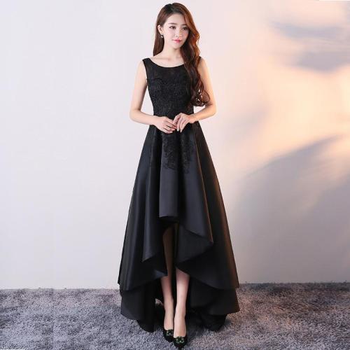 Evening dress female 2020 new simple and elegant temperament black long banquet noble host lady dress