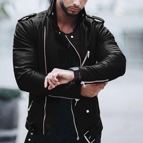 Fashion Mens Slim Leather Outerwear