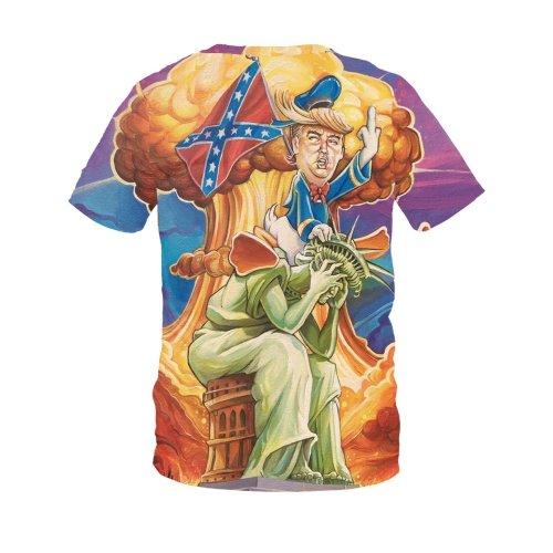 Fun Trump Printed Round Neck Pullover Short Sleeve T-shirt