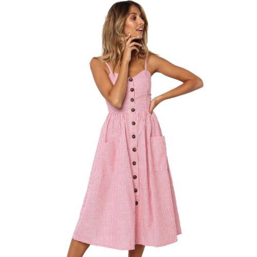 Button Striped Print Cotton Casual Beach Summer Dress 2020 Sexy Spaghetti Strap V-neck Off Shoulder Women Midi Dress Vestidos