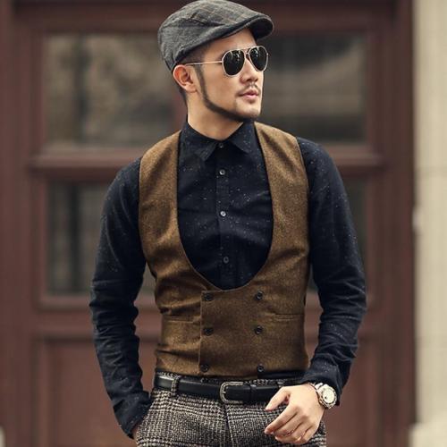Grey Double Breasted Slim Retro Woolen Casual Suit Vest Men British Style Solid Brand Design Waistcoat Vest M121