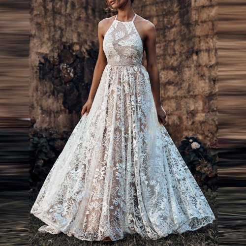 Fashion Sexy Pure   Colour Sleeveless Lace Evening Dress