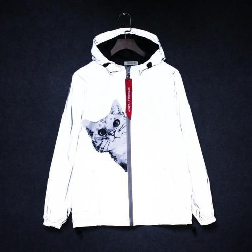 new Men's 3M Reflective Jacket Cat Hip Hop Funny Pocket hooded waterproof Men women streetwear Windbreaker Jackets Homme Coats