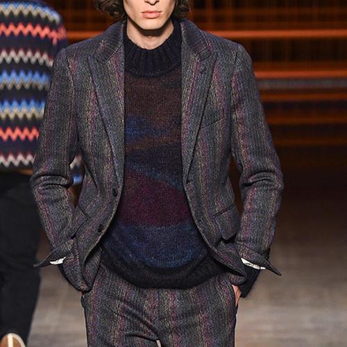 Fashion Contrast Color Lapel Suit Coat