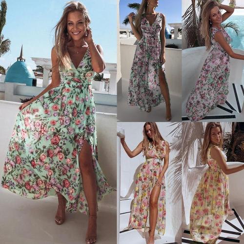 2020 Women V Neck Split Dress Floral Print Long Summer Spaghetti Strap Party Pink Chiffon Elegant Casual Maxi Dresses for woman