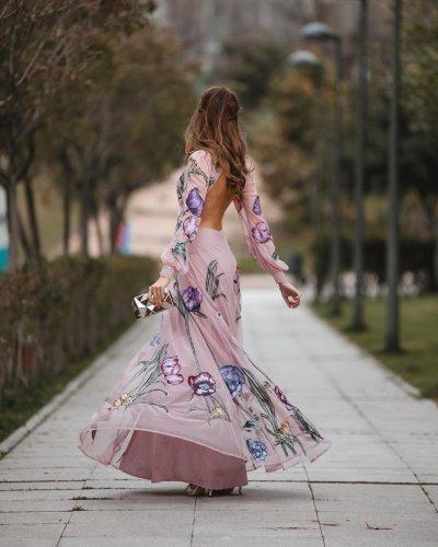 Hollow Out Long Sleeve Print Pink Long Dresses Vintage Sexy Plus Size Flowers Long Dresses Women 2020 Maxi Dresses