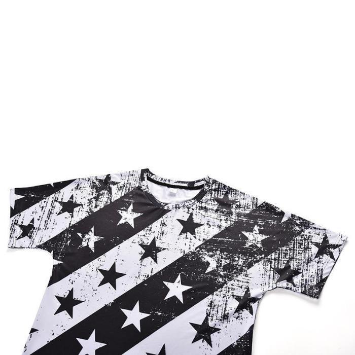 Star Stripe Print Round T-Shirt