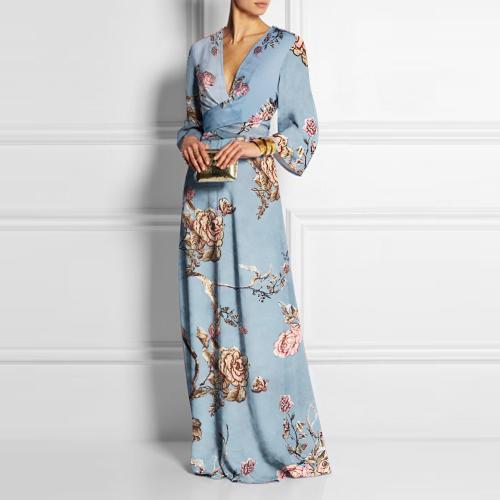 Sexy Deep V Collar Floral Printed Maxi Dress