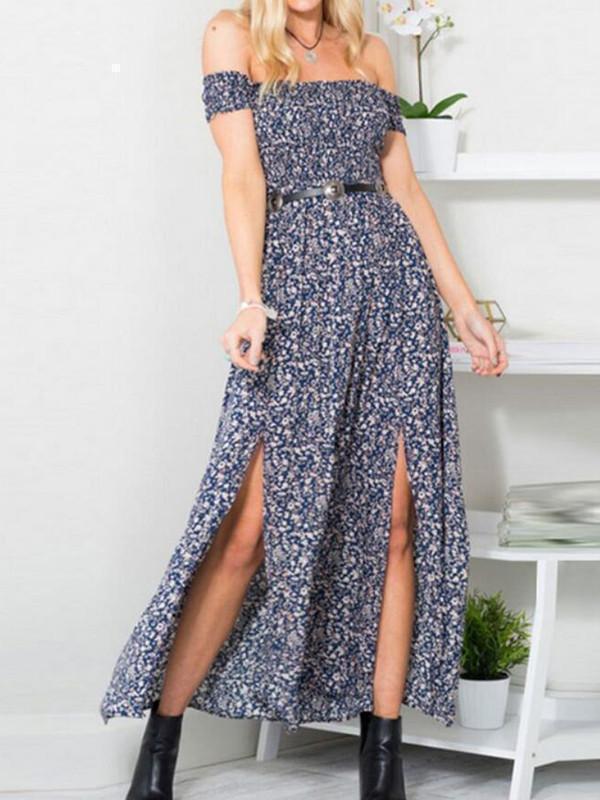 Beautiful Polka-dot Off Shoulder Side Split Maxi Dress
