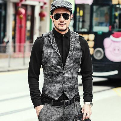 Woolen Casual Plaid European Style Vest Men Slim Fashion Brand Design Suit Vest Waistcoat Fashion M108-2