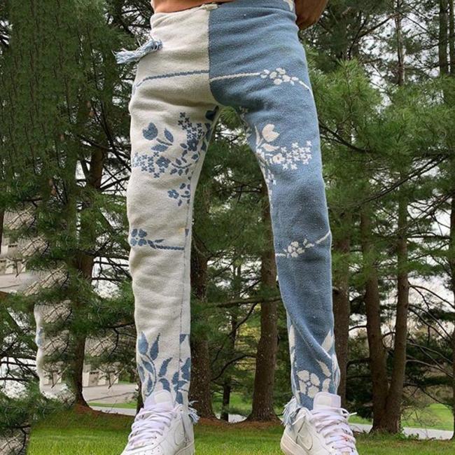 Contrast color asymmetric casual loose mens trousers TT010