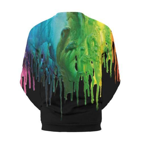 Men's Color Paint Print Crew Neck Sweatshirt