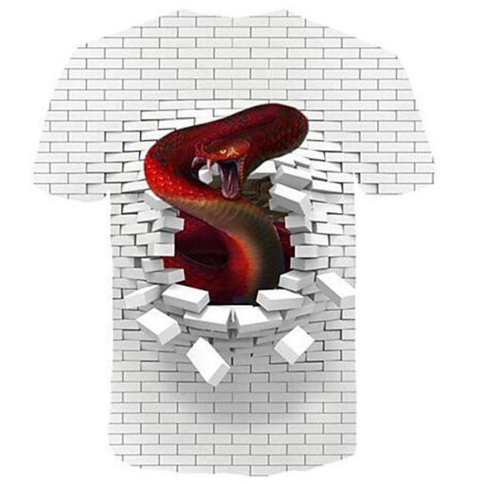 Big and Tall 3D Pink Floyd The Wall and Snake Print Men T-shirt Tee Tops