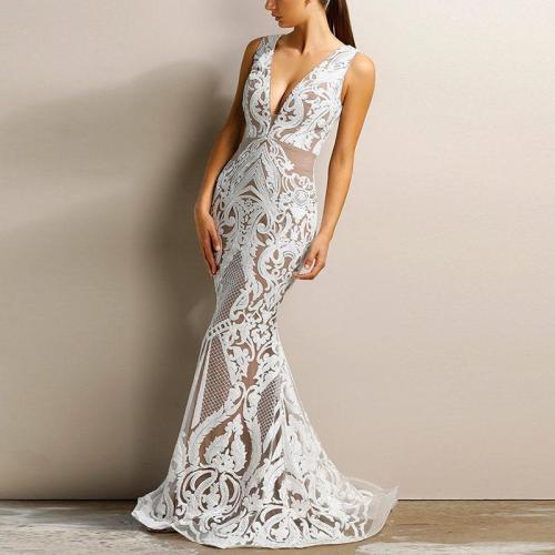 Sexy Deep V Sleeveless Hot Gold Evening Dress